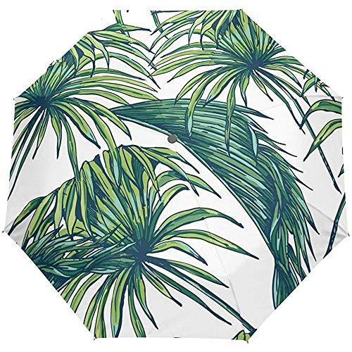 Vintage Tropical Floral Leaf Winddichte Regenschirme Auto Open Close 3 Faltbarer Sonnenschirm