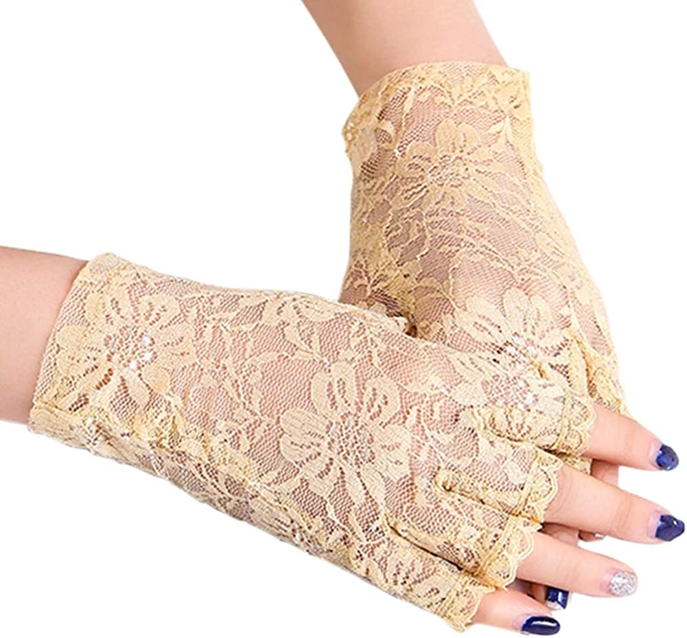 Orcle Women Lace Half Finger Gloves Wrist Length Floral Costume Gloves for Driving Wedding Prom