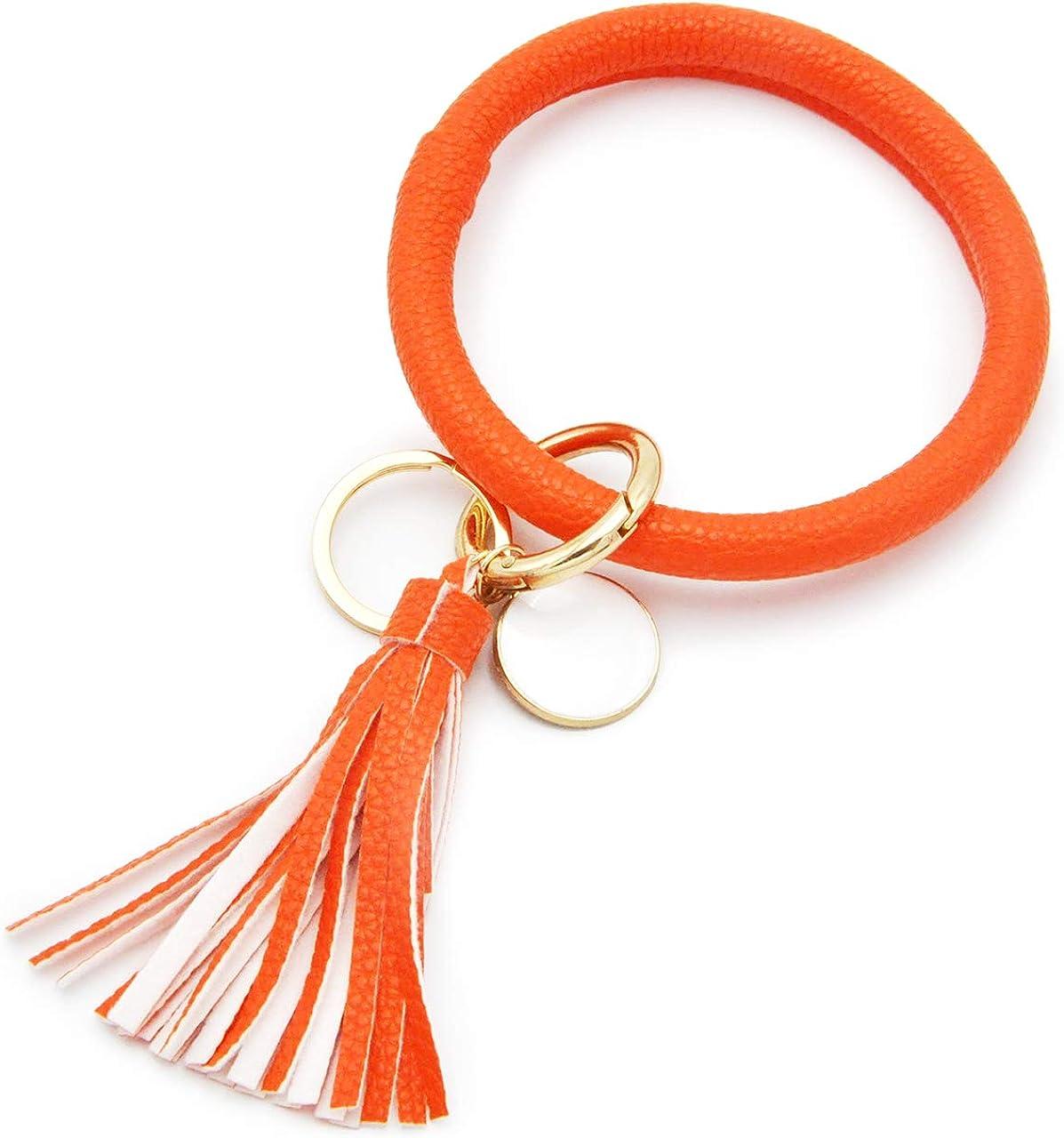Wristlet Keychain Bracelet Bangle Keyring Large Circle Key Ring Holder Tassel Bracelet Ring PU Leather Keychain