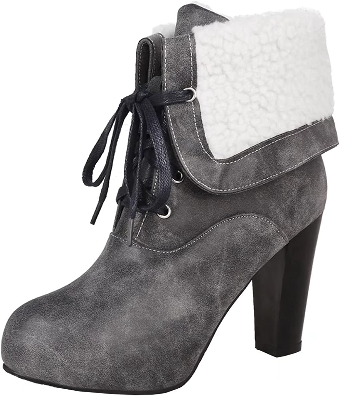 AIYOUMEI Women's Lace-up Thick Heel Bootie Autumn Winter Round Toe Ankle Boots