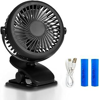 Queta USB Clip Ventilator, Mini Ventilator mit USB oder 1600mAh Kraftvoll Wiederaufladbare Batterie Clip Fan für Auto Kinderwagen Rollstuhl Büro Schwarz