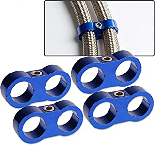 4PCs AN12 -ID 24mm Billet Fuel Hose Separator Fittings Braided Hose parator Clamp Fit Adapter Bracket Blue