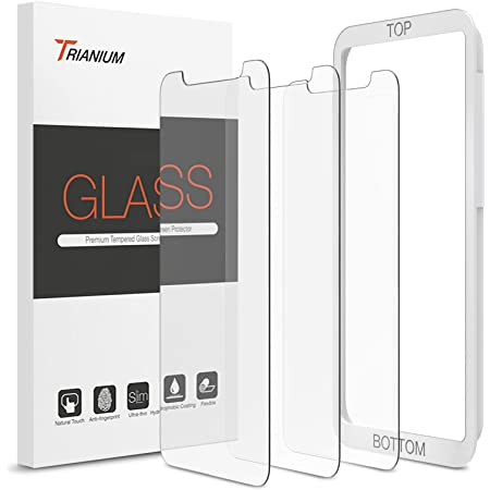 """Trianium (3 Packs) Screen Protector Designed for Apple iPhone 11 Pro Max, iPhone XS Max (6.5"""" 2018) Premium HD Clarity 0.25mm Tempered Glass Screen Protector Easy Installation Alignment Case (3-Pack)"""