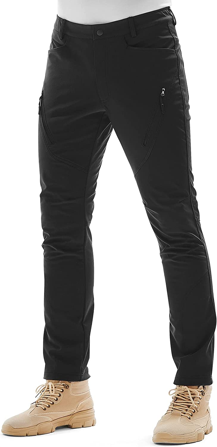 KUTOOK Men's Cargo Hiking Pants Softshell Thermal Fleece Lined Water Resistant Outdoor Trousers with 6 Pockets : Sports & Outdoors