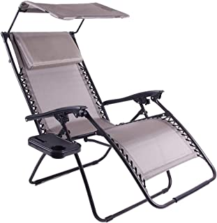 Just Relax Oversized Zero Gravity Chair with Pillow, Canopy, and Clip-On Table (Taupe Grey)