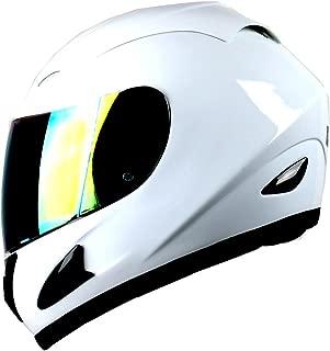 WOW Motorcycle Full Face Helmet Street Bike Glossy White; Size L (57-58 CM,22.4/22.8 Inch)