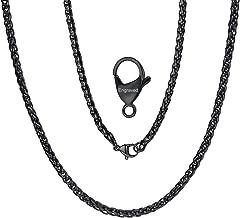 ChainsPro 3/6 MM Cadena de Trigo, Twist Rope Chain, Collar Trenzado Acero Inoxidable Plateado/Dorado/Negro, Joyería Hip Hop de Moda para Hombre y Mujer, 46-76CM de Largo (Ofrecer Servicio Grabado)