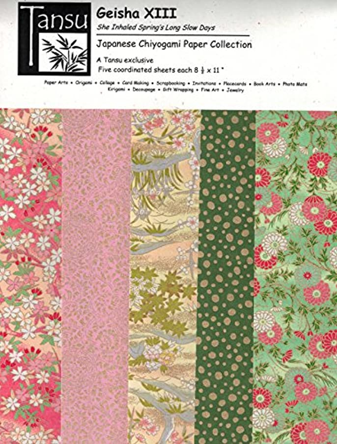 Japanese Chiyogami Papers - Geisha XIII - She Inhaled Spring's Long Slow Days