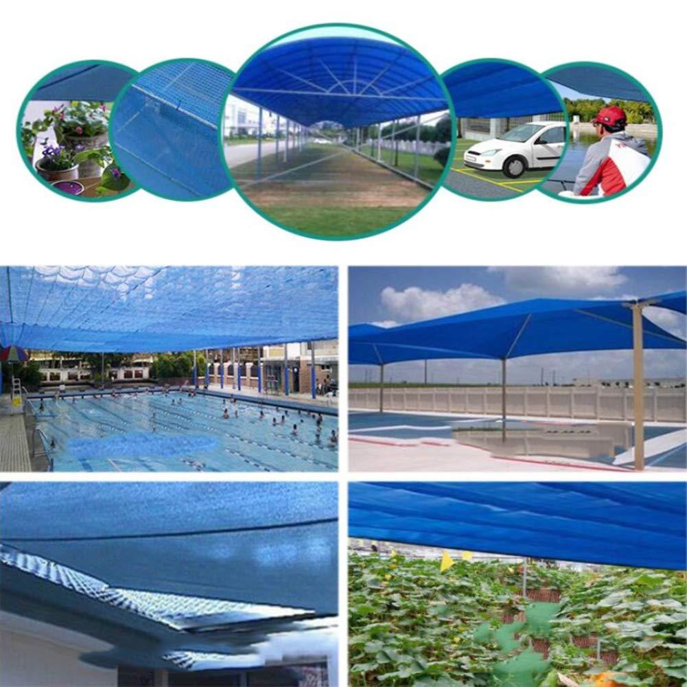 AOHMG Malla de ocultación 80% Sombra Solar Paño Protector Solar, Resistente a UV Pabellón de Cubierta de pérgola Bloqueador Solar Sombra Paño, Borde Grabado con Arandelas,Blue_9.9x9.9ft/3x3m: Amazon.es: Hogar