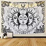 Likiyol Sun and Moon Tapestry Black and White Tapestry Psychedelic Fractal Faces Tapestry Wall Hanging, Durable Easy to Hanging Machine Washable