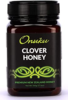 Onuku Pure Clover Honey - Unfiltered Honey from New Zealand - Natural Pure Honey - Non-GMO - 500 gram, 17.6 Ounce
