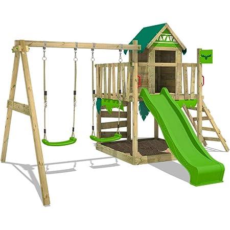 FATMOOSE Parque infantil de madera JazzyJungle con columpio y tobogán manzana verde, Casa de juegos de jardín con arenero y escalera para niños
