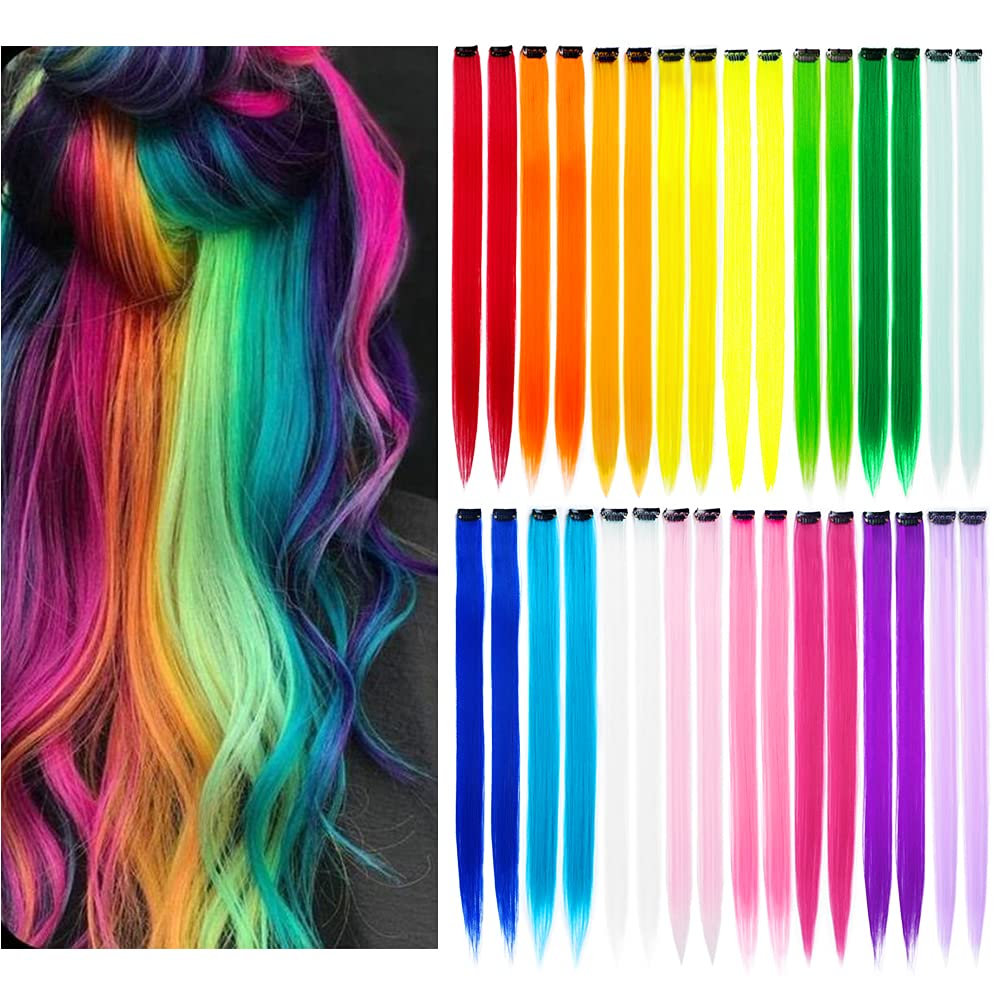 KGBFASS Low price 32Packs Colored Hair Fees free!! Extensions Straight 20Inch Color Cl