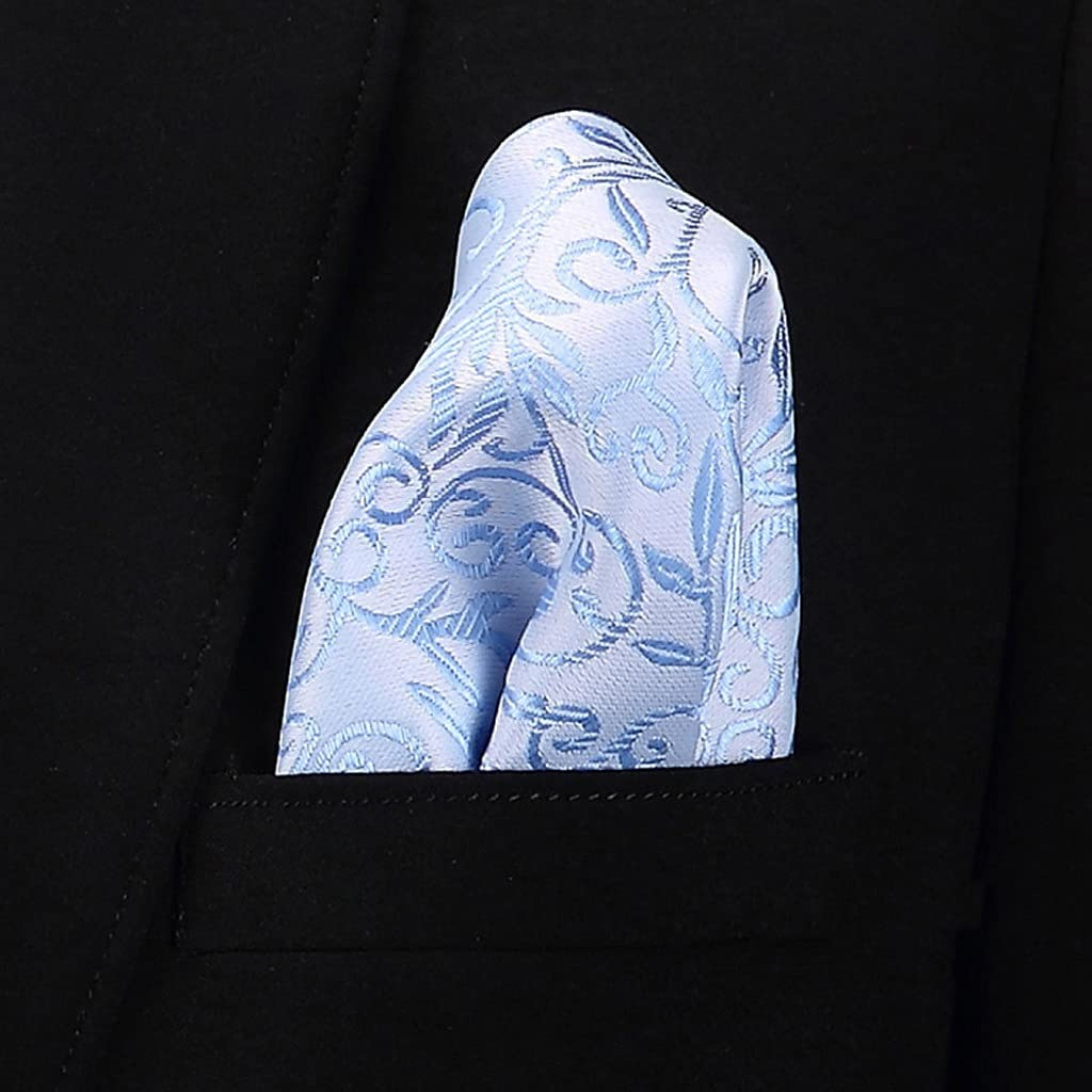 XQWLP Fashion 100% Silk Hankerchief Scarves Vintage Hankies Men's Pocket Square Handkerchiefs Striped Solid Snot Rag (Color : B, Size : 2222 cm)