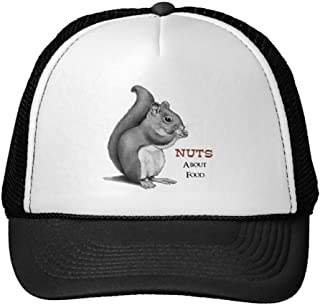 Smity 106 Nuts About Food: Squirrel: Pencil Drawing Trucker Hat Black