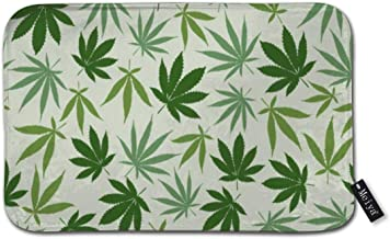 """Hemp Different Leaves Nature Bath Rug Door Mat Soft and Absorbent Bathroom Mat Anti-Slip and Plush Bath Mat for Bathroom Living Room and Laundry Room 15.7""""x23.6"""""""