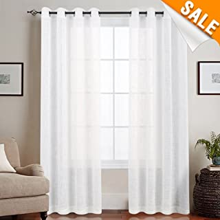 Open Weave Sheer Curtains for Living Room Grommet Top Window Treatment Sets for Bedroom Linen Like Curtain Drapes 84 Inch Length 1 Pair White