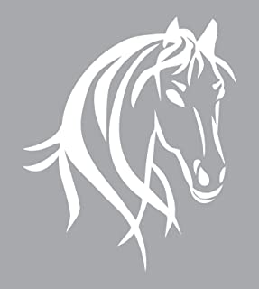 """Horse Head Wall Art is a Large INDOOR Vinyl Sticker Poster Gift (22"""" x 26.25"""") Displaying Cowgirl Décor Print of Big Beautiful Wild Spirit Horse Head for Kids Girls Women Bedroom – WHITE"""