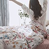 OTOB Floral Print Duvet Cover Sets King Bedding Set Collections Gifts 100% Cotton, 3 PCS Cartoon Home Textile Bed Sets with 1 Duvet Cover 2 Pillowcases King Size