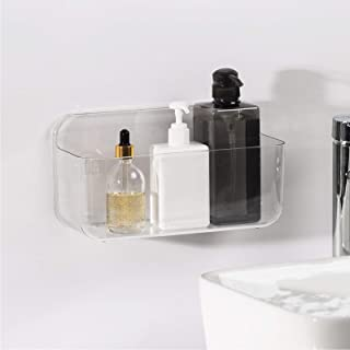 Ettori Adhesive Bathroom Caddy for Shampoo, Soap, Sponges and Kitchen Racks Bathroom Shower Organizer Basket,Clear,PET