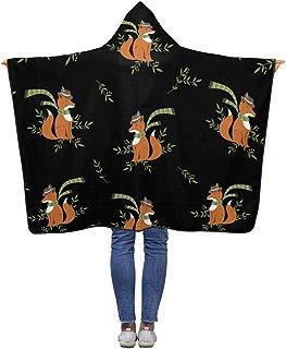 InterestPrint Funny Cute Fox Hooded Blanket 50 x 40 inches Soft Lightweight Polar Fleece Blankets Throw Wrap