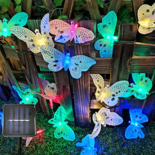 Sunboia Butterfly Solar String Lights,20 LED Waterpoof Solar Butterfly Lights Garden Decorative lights for Bedroom Patio Tree Lawn Christmas