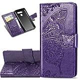 COTDINFOR Etui für LG K50 Hülle PU Leder Cover Schutzhülle Magnet Tasche Flip Handytasche im Bookstyle Kartenfächer Lederhülle für LG K50 Flower Butterfly Dark Purple SD