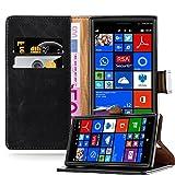 Cadorabo Hülle für Nokia Lumia 830 - Hülle in Graphit SCHWARZ – Handyhülle im Luxury Design mit Kartenfach & Standfunktion - Case Cover Schutzhülle Etui Tasche Book