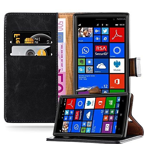 Cadorabo Hülle für Nokia Lumia 830 in Graphit SCHWARZ – Handyhülle mit Magnetverschluss, Standfunktion & Kartenfach – Hülle Cover Schutzhülle Etui Tasche Book Klapp Style