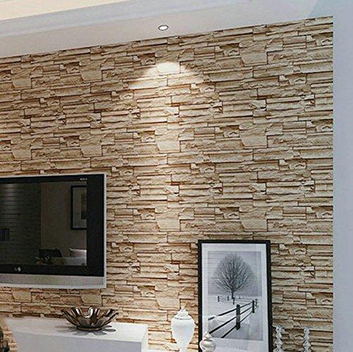 Gxni Retro Tapete 3D Faux Ziegel Stein Tapete PVC Wanddekoration Für Wohnzimmer Restaurant TV Wand Schlafzimmer Kleidung Shop,B
