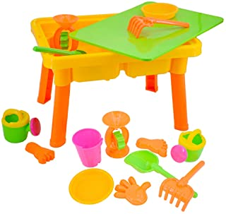 deAO Mesita Cajón de Arena y Agua con Accesorios y Tapa Protectora Actividades de Verano Infantil