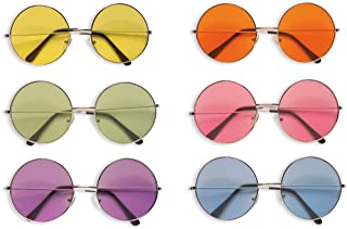 Große randlose Damen Sonnenbrille im 70er 80er Jahre Vintage Stil RL70 blau gelb