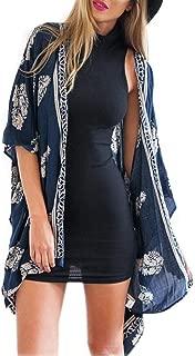 KOLY Camicetta Floreale Vintage Femminile Kimono Scialle Sciolto Stampa Cardigan Boho Top in Chiffon Stampa Floreale Kimono Casual per Spiaggia Lungo Stampa Manica Casual Giacca Tops