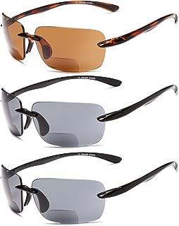Gamma Ray Bifocal Sport Sunglasses for Men and Women - 3 Pairs Sun Readers