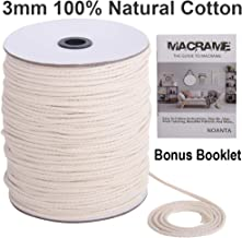 NOANTA Macrame Cord 3mm x 990Feet, 100% Natural Cotton Macrame Rope Cotton Cord, Perfect Macrame Supplies for Wall Hanging, Plant Hangers, Crafts, Knitting, Decorative Projects