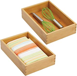 mDesign Bamboo Kitchen Cabinet Drawer Organizer Tray Bin - Eco-Friendly, Multipurpose - Use in Drawers, on Countertops, Shelves or in Pantry - 10.5