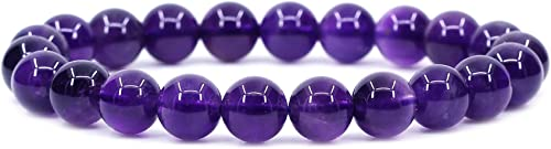 8mm Gem Semi Precious Gemstones Natural Stone Round Beads Rock Crystal Stretch Bracelet 7 Inch Unisex