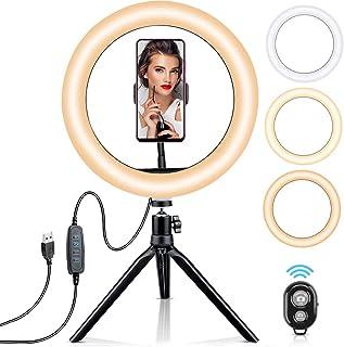 OCOOPA Ringlampa med stativstativ 10,2 skönhet LED flashlampa med bluetooth fjärrkontroll och telefonhållare, dimbar ringl...