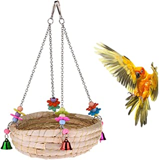 Natural Handwoven Straw Nest Bed Large Bird Swing Toy with Bells for Parrot Cockatiel Parakeet African Grey Cockatoo Macaw Amazon Conure Budgie Canary Lovebird Finch Hamster Chinchilla Cage Perch
