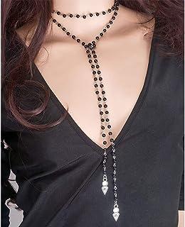 Kanggest.Pendentif Turquoise Multicouche Collier Double couche Anneau de cou En cuir R/étro R/églable necklace Diamant de cristal Cha/îne pour femmes