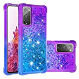 GLORYSHOP Galaxy S20 Lite Case, Gradient Quicksand Series Liquid Crystal Case Slim Soft TPU Protection Bling Glitter Bumper Cover Compatible with Samsung Galaxy S20 Lite, Purple and Blue