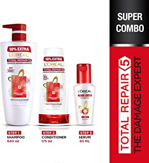 L'Oreal Paris Total Repair 5 Shampoo 640 ML, Conditioner 175 ML & Serum 40ML