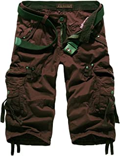 QitunC Men's Outdoor Casual Twill 3/4 Cargo Shorts Loose Fit Multi-Pocket Long Shorts