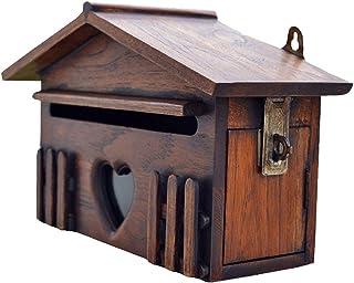 郵便受け・メールボックス 小さな木製の郵便ポスト 壁取り付けまたは自立 ミニレターボックス、 投票コメントボックス、 ヴィンテージハウスデザイン