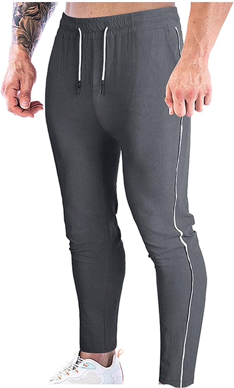 NREALY Mens Yoga Pants Drawstring Mid Waist Joggers Sweatpants with Pocket