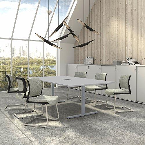 Easy Konferenztisch 240x120 cm Lichtgrau mit ELEKTRIFIZIERUNG Besprechungstisch Tisch, Gestellfarbe:Silber