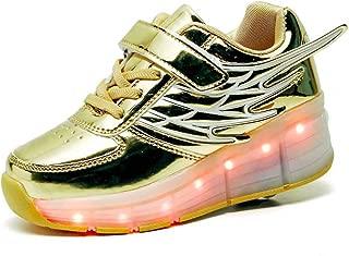 HUSKSWARE Kids Roller Skate Shoes with Single Wheel LED Shoes Sport Sneaker