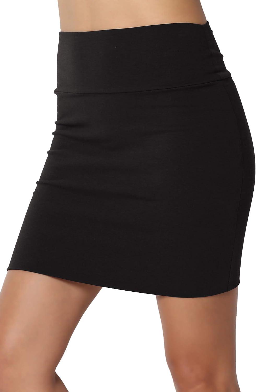 TheMogan S~XL Basic Stretch Cotton High Waist Double Layer Tube Mini Skirt