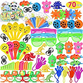 Max Fun Party Toys Assortment for Kids Party Treasure Chest Prizes Box Birthday Party School Classroom Rewards Carnival Prizes Pinata Fillers Pack of 70