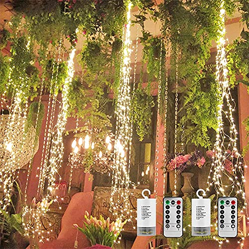 2 Pack 250 LED Firefly Bunch Lights 8.2ft Waterfall Lights, 8 Flashing Modes Fairy Lights Indoor Outdoor Waterproof Garden Decoration Battery Operated Remote Control (Warm White)
